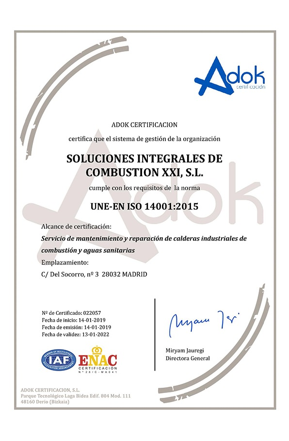 Maintenance and repair of industrial boilers | Certification ISO 14001