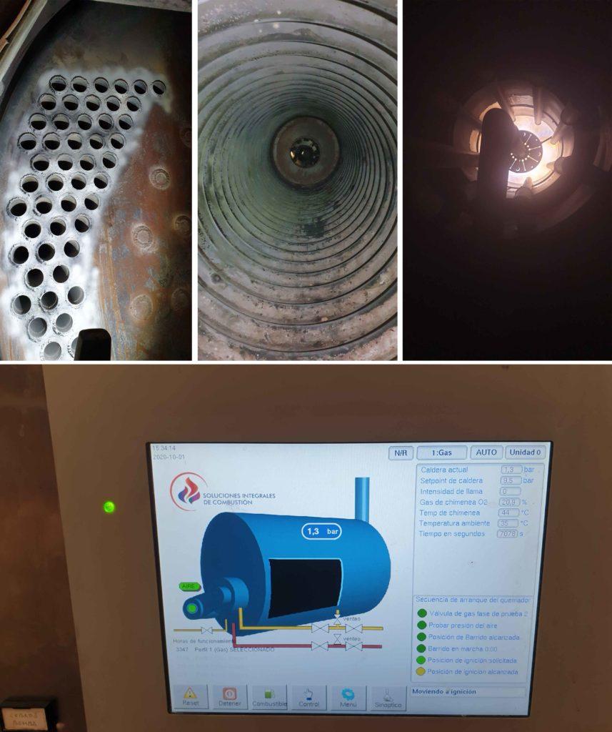 Mantenimiento de calderas Industriales. Interior y sistema de control. Soluciones Integrales de Combustion